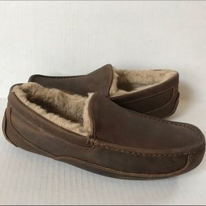 UGG men's Ascot Driving Slippers Brown Leather 11